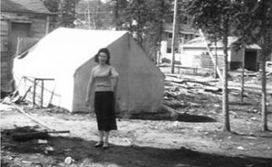 Rita in her back yard in Uranium City, Saskatchewan.