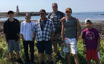 Grant with Arrowhead campers on a Discipleship week excursion at Brier Island, Nova Scotia.